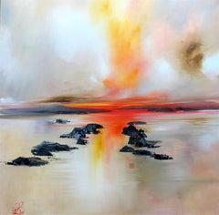 Misty sunset  original landscape painting Contemporary Art 21st Century