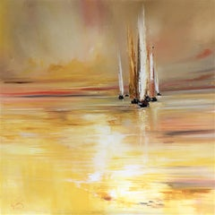 Yachts Glowing Light original landscape painting Contemporary Art 21st Century
