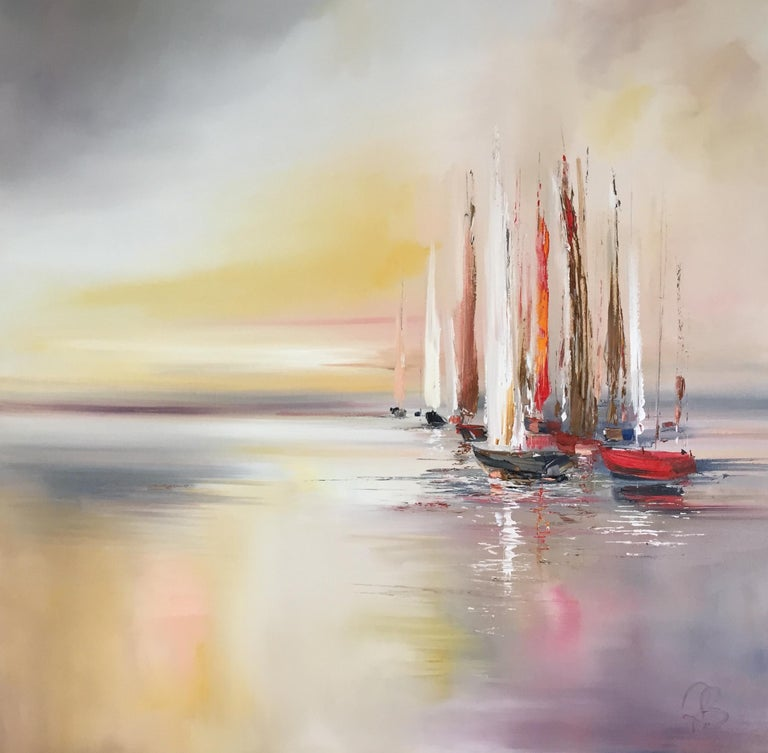 Rosanne Barr Abstract Painting - Yachts resting at the Bay abstract sea landscape painting Contemporary Art