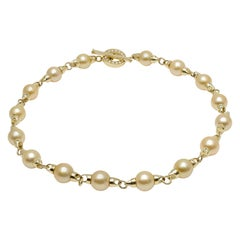 Rosaria Varra Natural Gold South Sea Pearl Station Necklace in 18 Karat Gold
