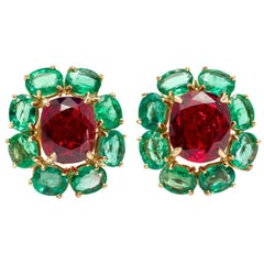 Rosaria Varra Natural No Heat Spinel 'GIA' and Emerald Earrings in 18 Karat Gold