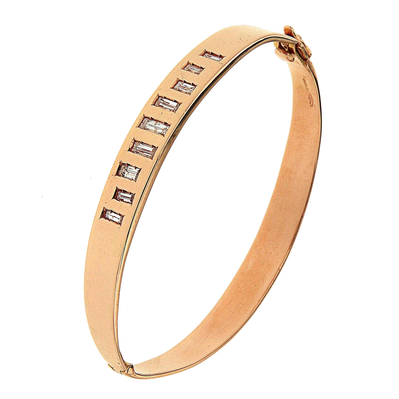 Diamonds Rose 18 Karat Gold Bracelet Handcrafted in Italy by Botta Gioielli
