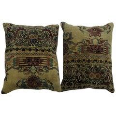 Rose and Khaki Persian Kerman Rug Pillows