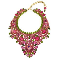 Rose and Olivine Vintage Swarovski Crystal Bib Necklace with Heart Center