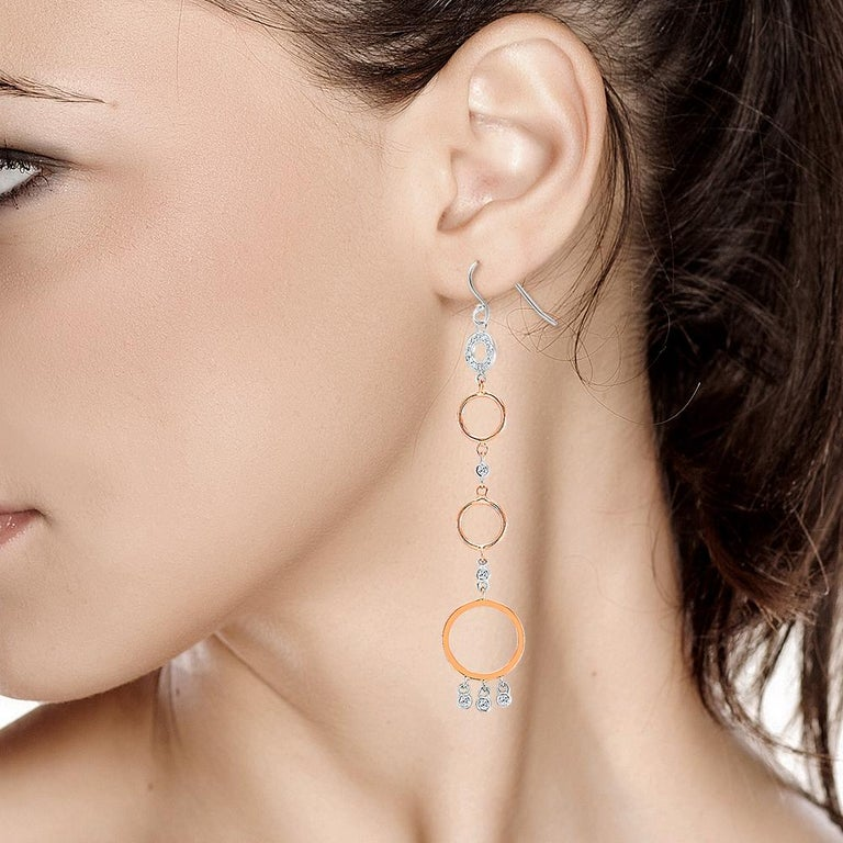 Modern Rose and White Gold Diamond Circle Hoop Dangle Earrings 3.25 Inches Length  For Sale
