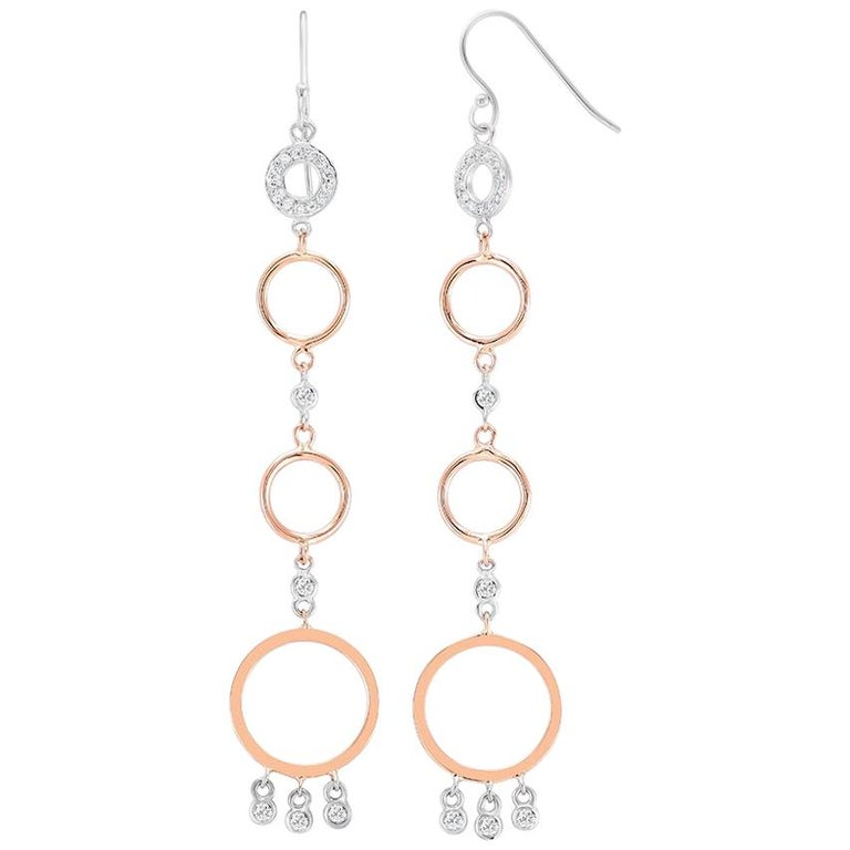 Rose and White Gold Diamond Circle Hoop Dangle Earrings 3.25 Inches Length  For Sale