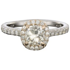 Rose and White Gold GIA Certified Cushion Brilliant Diamond Halo Engagement Ring