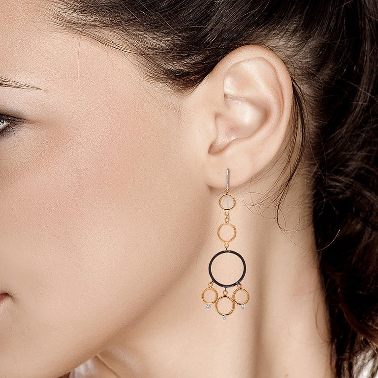 Round Cut OGI Rose and White Gold Hoop Diamond Modern Earrings with Blacken Circles For Sale