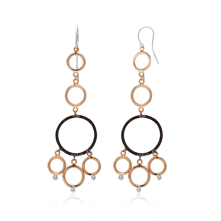 OGI Rose and White Gold Hoop Diamond Modern Earrings with Blacken Circles In New Condition For Sale In New York, NY