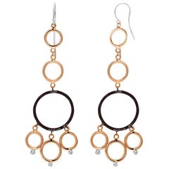 Rose and White Gold Hoop Diamond Earrings with Blacken Silver Circles