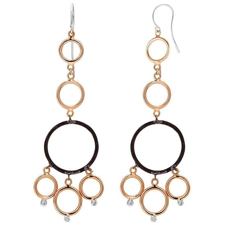 OGI Rose and White Gold Hoop Diamond Modern Earrings with Blacken Circles For Sale