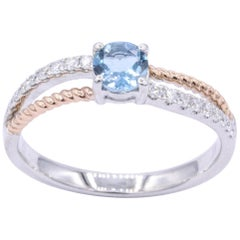 Rose and White Round Aquamarine Engagement Cocktail Ring