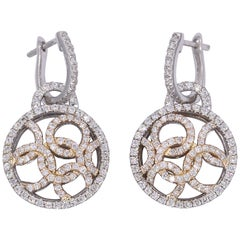 Rose and Yellow Gold Diamond Dangle Fashion Earrings
