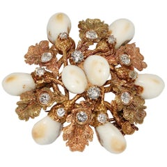 """Rose and Yellow Gold """"Grandel"""" Hunter Brooch with Diamonds and Canine Teeth"""