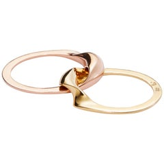 Rose and Yellow Gold Mixed Metal Gimmel Ring
