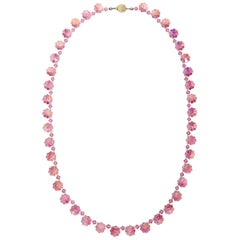 Rose Aurora Borealis Two-Tone Crystal Flower Bead Necklace, Vintage Mid 1900s
