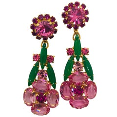 Rose Austrian Crystal and Crysophase Floral Drop Pendant Earrings