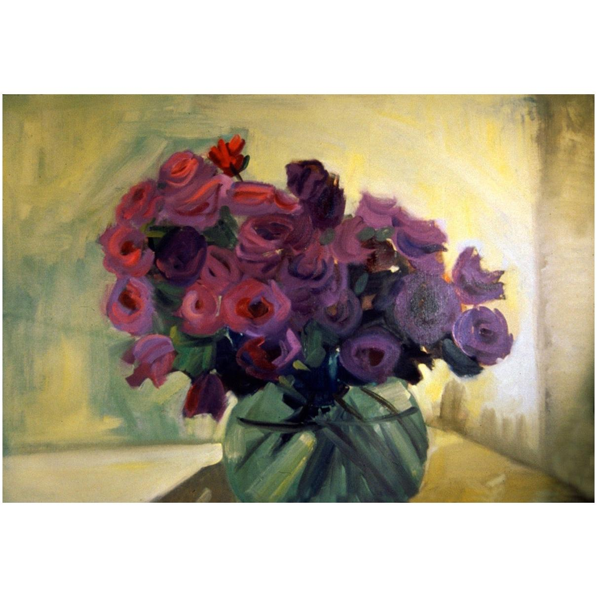 """""""Rose Bowl,"""" 1996 Purple Floral Still Life Oil on Canvas by Artist Diane Love"""
