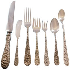 Rose by Stieff Sterling Silver Flatware Set for 12 Service 97 Pc Repoussé Dinner