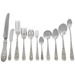 Rose by Stieff Sterling Silver Flatware Set for 24 Service 285pc Repousse Dinner