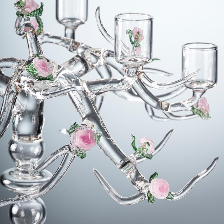 Modern Rose Candelabra Handmade Glass Candelabra by Simone Crestani For Sale