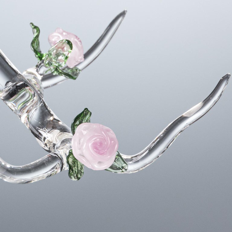 Italian Rose Candelabra Handmade Glass Candelabra by Simone Crestani For Sale