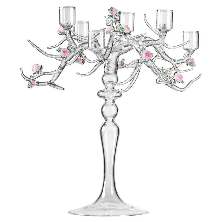 Rose Candelabra Handmade Glass Candelabra by Simone Crestani For Sale