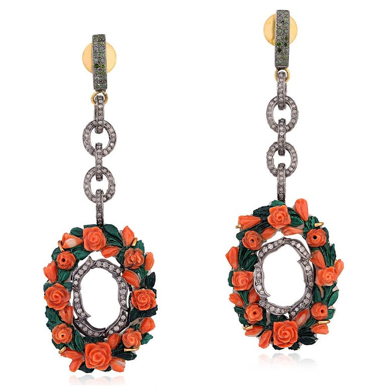 Modern Rose Carved Shell Cameo Link Earring For Sale