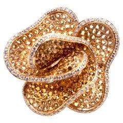 Rose Citrine Diamond Cocktail Ring