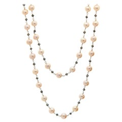 Rose Colored Pearl and Black Briolette Diamond Strand Necklace in White Gold