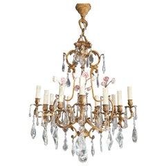 Rose Crystal Antique Chandelier Ceiling Florentiner Lustre Art Nouveau