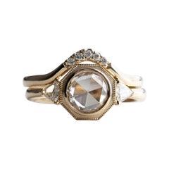 Rose Cut 0.90 Carat Diamond Engagement Ring Set