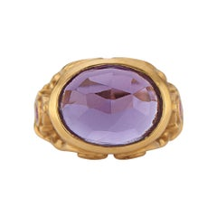 Rose Cut Amethyst and Fuchsia-Sapphire Cocktail Ring in Gold
