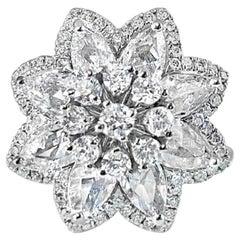 2.21 Carat Rose Cut and Round Brilliant Diamond Statement Ring, 18 KT Gold