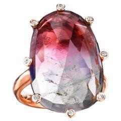 18 Karat Rose Gold Rose Cut Bicolor Tourmaline Diamond Cocktail Ring