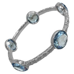 Stephen Dweck Rose Cut Blue Quartz Bangle with Sterling Silver Engraved