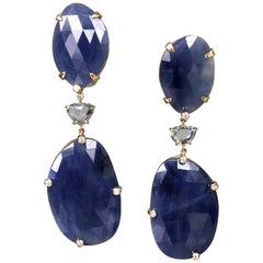 Joon Han Rose Cut Blue Sapphire Diamond 18 Karat Gold Drop Dangle Earrings