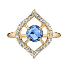 Rose-Cut Blue Sapphire with Diamonds Gold Ring