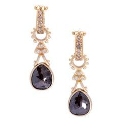 Rose Cut Brown Diamond Aria Drop Earrings