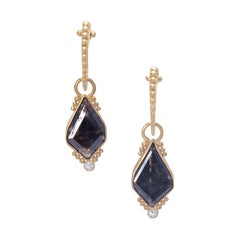 Rose Cut Brown Diamond Titania Drop Earrings