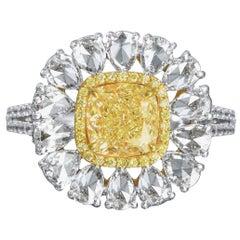 Rose cut Classic Cushion Yellow Diamond Ring, 3.90 Carat
