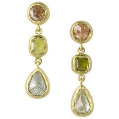 Rose Cut Colored Diamond Earrings