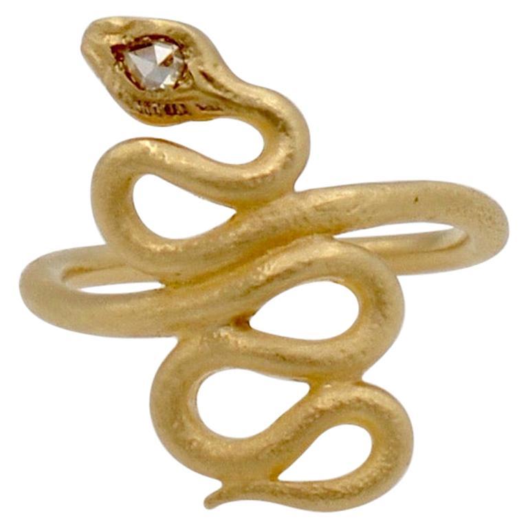 Rose Cut Diamond 14 Karat Gold Snake Ring