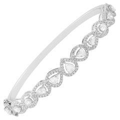 Rose Cut Diamond 18 Karat Gold Bangle Bracelet