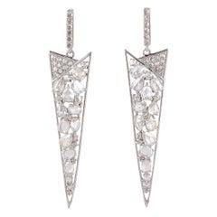 Rose Cut Diamond 18 Karat Gold Earrings