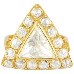 Rose Cut Diamond 18 Karat Gold Engagement Ring