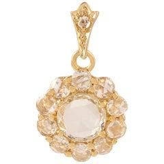 Rose Cut Diamond 18 Karat Gold Floral Pendant Necklace