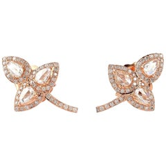 Rose Cut Diamond 18 Karat Gold Leaf Stud Earrings