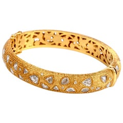 Rose Cut Diamond 18 Karat Gold Textured Bangle Bracelet