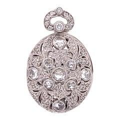 Rose Cut Diamond 18 Karat White Gold Vintage Locket Pendant
